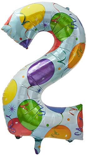 Folienballon Riesen Zahl 2 Geburtstag 88cm groß Motiv Ballons, ohne Ballongas leer, 55x83cm