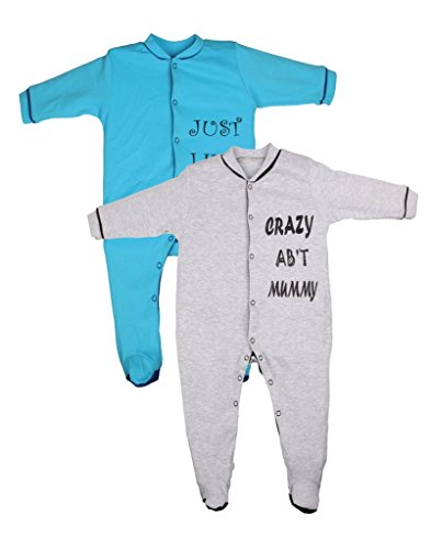 Gkidz Infants Sleep Suit Pack of 2 (INF-2PCK-SLPSUT-GREY-TURQ-6-12M_ Grey_ Multicolor_6-12 Month)