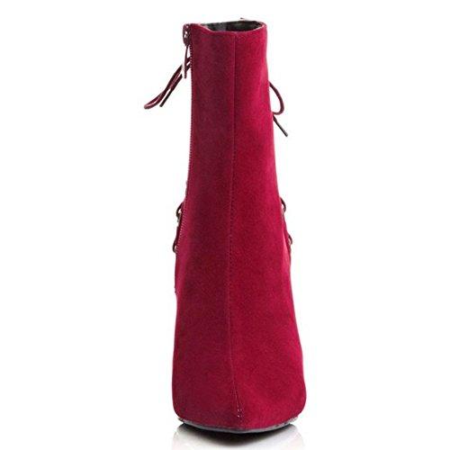 eclair Booties Courte Mode Stiletto red TAOFFEN Pointue Fermeture Femmes Bottes qUwpUYAI