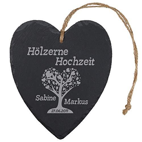 Schieferherz – Hölzerne Hochzeit Herzbaum: persönliches Schiefer Herz mit Gravur – personalisiert mit Namen + Datum – 5. Hochzeitstag Geschenk