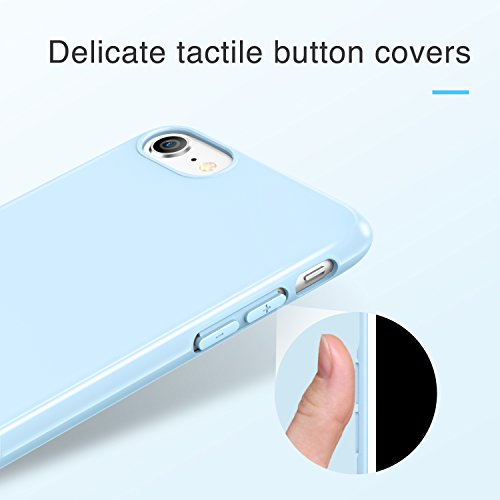 Coque iPhone 7, Coque iPhone 8 Rose, ESR Coque Silicone Souple Ultra Fine, Housse Etui de Protection Bumper en TPU Brillant Lustré [Anti Rayures] [Ultra Slim] [Ultra Léger] pour Apple iPhone 7 (2016)  Bleu Clair