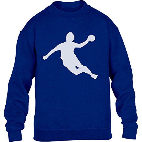 Handball Spieler in Action Silhuetten Fan Geschenk Kinder Pullover Sweatshirt XL 152/164 Blau