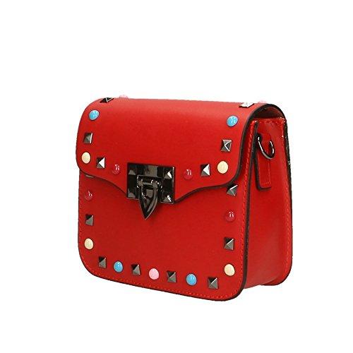 Chicca Borse Frau Clutch Kleine Schultertasche mit Leder Made in Italy echtem Schultergurt - 18x15x7 cm Rot