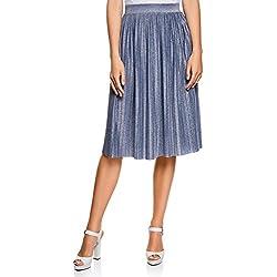 oodji Ultra Mujer Falda Midi Plisada, Azul, ES 42 / L