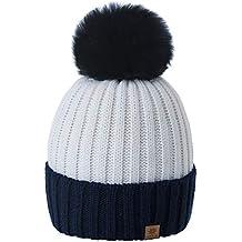 Romens Ltd Gorro Beanie De Invierno para Mujer Hombre Pompón de Estilo  Esquí y Snowboard 84cc829725c