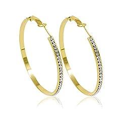 Idea Regalo - Inscintille Cerchi di luce Orecchini a cerchietto dorati con strass - 1,5 cm