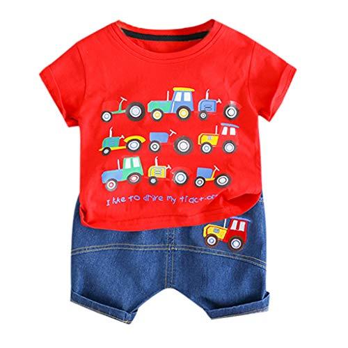 Zylione Kinderbekleidung Set Junge Baby lässig Kurzarm Cartoon Auto Druck Shirt T-Shirt + Shorts Zweiteilige Kindertagesgeschenk