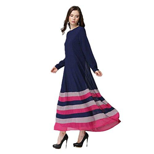 Haodasi Damen Kaftan Abaya Kleid Muslim Islam Malaysia Middle East Lange Ärmel Chiffon Streifen Bekleidung Robes Blue