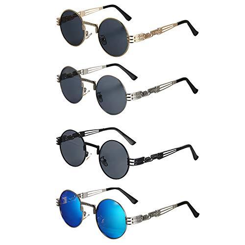 Aroncent 4PCS Unisex Retro Rund Polarisierte Sonnenbrille, Vintage Metallrahmen Brille für Herren Damen, schwarz Gold Silber blau