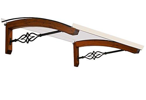 BELLHOUSE COPERTURE hälzern Vordach Modell Legno Stella TECK - TIEFE 90 HÖHE 41 BREITE 150 ZM BRONZIERT