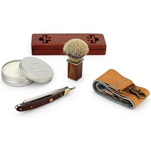 Rasiermesser - Mahagoni Holzgriff, mit Schatulle, Seife, Pinsel, Schleifpaste, Streichriemen - Komplett-Set (Kleine Leckerbissen Taschen)