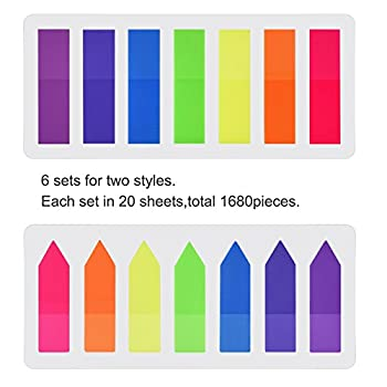 Pyhot 1680 Pieces Index Tabs Flags, 12 Sets Neon Page Markers Bookmarks Text Highlighter Strips, Sticky Notes 12 X 45 Mm 1
