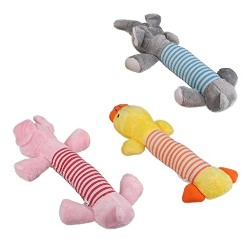 Pecute-Pet-Puppy-Dog-Chew-Toys-Squeaker-Squeaky-Plush-Sound-Pig-Elephant-Duck-New-Dog-Toys-3-Pack