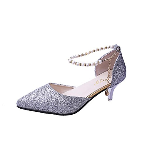 FEITONG Damen Pumps | Metallic Stiletto Mid-Heels | Perlen T-Strap Pumps Pailletten Club Partei Schuhe Abendschuhe (EU:39=Fußlänge:241-245mm, Silber) (Lackleder Heel Low)