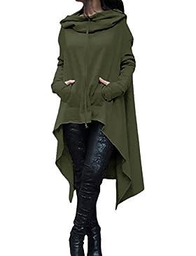 EMMA Mujeres Poncho de Otoño Jersey Suelto con Bolsillo Tamaño Plus