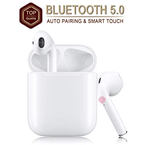 Auricolare Bluetooth Senza Fili, Cuffie Wireless Stereo 3D with IPX5 Impermeabile, Accoppiamento Automatico Per Chiamate Binaurali, Adatto Per Samsung/iPhone/Android/Apple AirPods