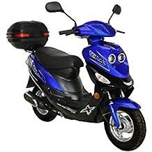Roller GMX 550 Mofa 25 km/h blau + Topcase 2,4 KW / 3,3 PS / Luftgekühlt / Alufelgen / Gepäckträger / Scheibenbremse / Teleskopgabel Hydraulisch / ab 15 Jahren