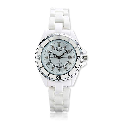 Digu Damen-Armbanduhr, Quarz, Edelstahl, legere Uhr, wasserdicht und schweißfest, Keramik-Uhr, Farbe: Weiß
