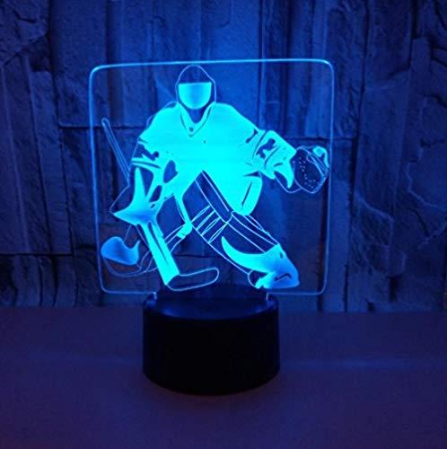 Eishockey 3D Nachtlicht Acryl USB bunt Stimmungslicht Fernbedienung Touch-Atmosphäre Lichter Stimmungslicht Tisch 3D SlidesCreative 7 Farb-Ersatz-Fernbedienung Lichter