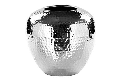 Fink LOSONE Vase aus Edelstahl, Silber, 20 x 20 x 20 cm (Blumen Vase Mit Hocker)