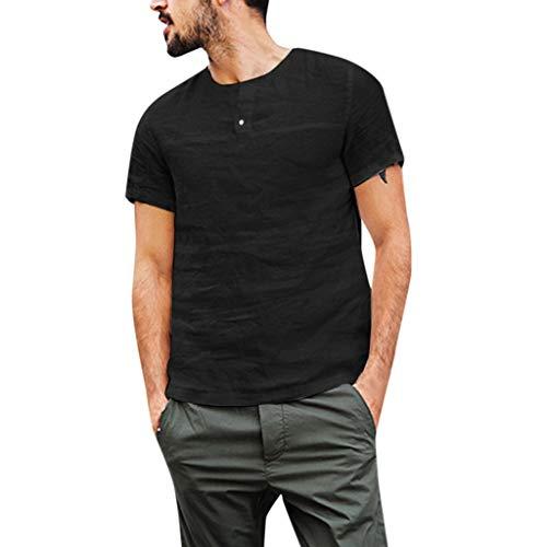 Vovotrade Camicia Uomo Camicie di Lino a Maniche Corte con V Collo Cam