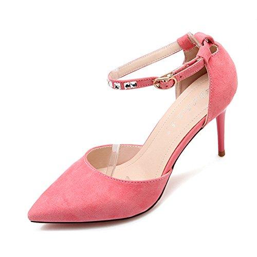 Senhoras Bombas Elegantes Sapatos De Trabalho De Couro Stiletto Nobuk Dedo Apontado Strass Fivela Rosa