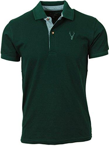 Herren Poloshirt, Trachtenpolo, Trachtenhemd Shirt, Baumwolle und Elasthan, Kurzarm, in grün, blau und grau, alle Größen (L, Grün)