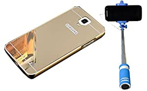 Uni Mobile Care Metal Bumper Frame Case with Acrylic Mirror Back Cover Case For Samsung Galaxy Note 3 Neo - Golden + Blue Mini Selfie Stick With Easy Aux Cable For Ios and Anriod