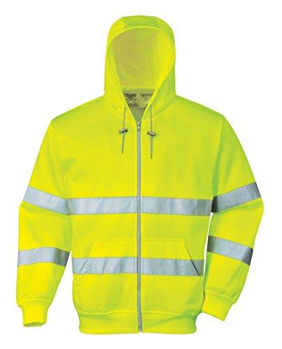 PORTWEST B305 - Warnschutz-Reißverschluss Kapuzen-Sweatshirt, 1 Stück, M, gelb, B305YERM -