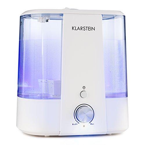 Klarstein Toledo - Humidificador ultrasonido , Difusor aroma , 300 ml/h , 24 W , Depósito 6 L , Luz LED opc. , 2 Boquillas difusoras orientables , Tapa extraíble llenado, ablandador agua , Blanco