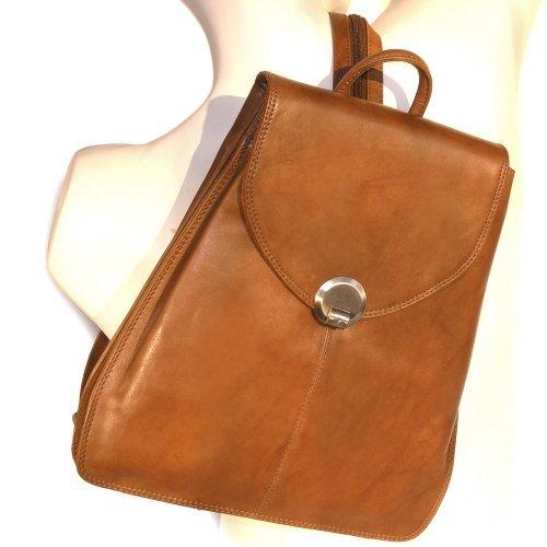 Kleiner Lederrucksack Größe S / Rucksack-Handtasche aus Leder, für Damen, Cognac-Braun, Branco br96