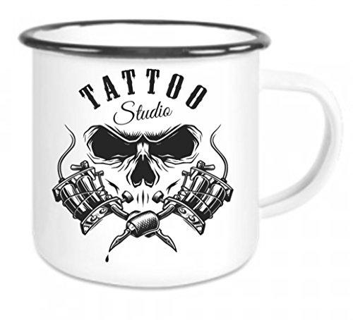 crealuxe Emaille Tasse mit Rand Tattoo Studio - Kaffeetasse mit Motiv, Campingtasse Bedruckte...