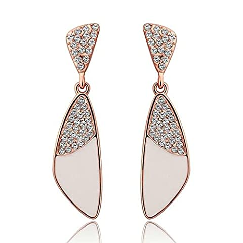 AMDXD Jewelry Rose Gold Plated Women's Earrings Triangle White Oil Drip SWA Elements