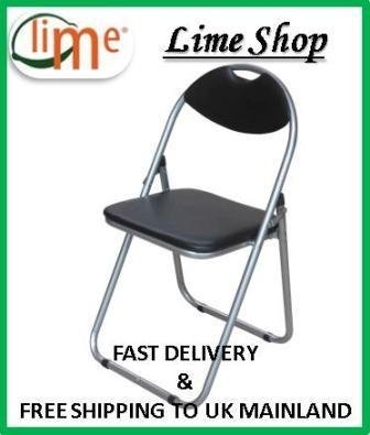 Black Padded Folding Office, Desk Chair. Easily Stores Away. produced by Ashley - quick delivery from UK.