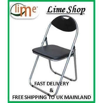Black Padded Folding Office Desk Chair Easily Stores Away