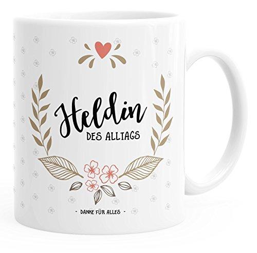 MoonWorks Kaffee-Tasse Geschenk-Tasse Heldin des Alltags Muttertags-Geschenk Weiß Unisize