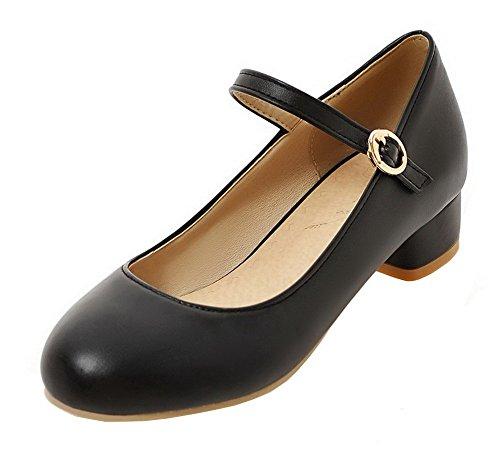 AgeeMi Shoes Damen Niedriger Absatz Schnalle PU Schließen Zehe Pumps Schuhe,EuD77 Schwarz 40