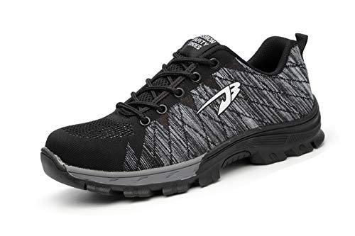 Aizeroth-UK Unisex Hombre Mujer Zapatillas de Seguridad con Punta de Acero Antideslizante S3 Zapatos de Trabajo Cómodas Calzado de Trabajo Deportivos Botas de Protección Industria Construcción