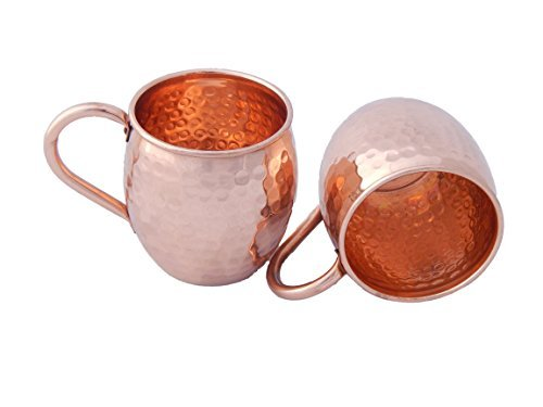 Set of 2 - 100% Solid Copper Moscow Mule Mug - Pure Copper Inside/No Lining - Keeps Drinks Ice Cold - Great Quality & Handmade in India - Riveted, Large Easy Grip Copper Handle by Cyprus Copper Mugs by Cyprus Copper Mugs