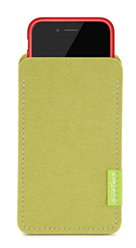 WildTech Sleeve für Apple iPhone 7 Plus / 6S Plus / 6 Plus mit Apple Leder Case / Silikon Case - 17 Farben (made in Germany) - Pink Lindgrün