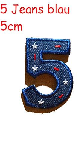 Zahl 5 rot blau 5cm Stoff Aufbügler Flicken Aufnäher Patches im Design von TrickyBoo Zürich Schweiz personalisieren Kleider Jeans Hosen Rock T-Shirt mit Zahlen Nummern Geburtsjahr Datum von Mädchen Buben Baby und jungen Kindern
