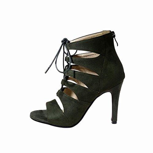 Mee Shoes Damen high heels Nubukleder Reißverschluss Sandalen Dunkelgrün