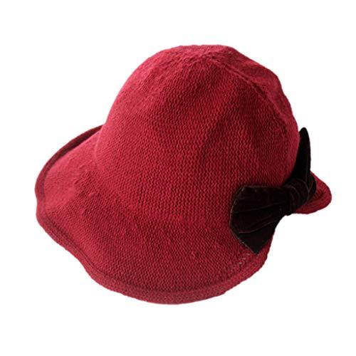 BAOGUAN Weibliche Winter Chic Fischer Hut gestrickt einfache Bow Basin Cap warme Wollmütze (Color : Burgundy, Size : 56-58cm) -
