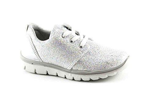 PRIMIGI 75858 scarpe bambina lacci sneaker basse glitter running Bianco