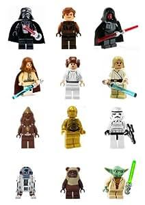 Carlton Trading Lego Lot de 12 figurines Star Wars Décoration culinaire en papier d'hostie comestible 50 à 65 mm