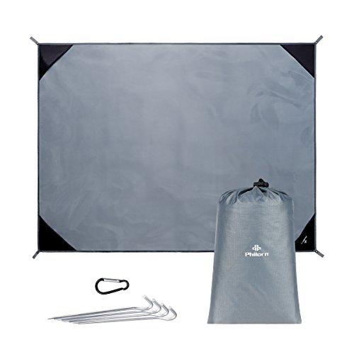 PHILORN Großes Wasserdicht Picknickdecke und Stranddecke Camping Decke Strand Matte (200×150 cm) mit 4 Alu-Heringe Faltbar Leicht und Sandfrei für Outdoor Wandern Grassland Unterwegs (Grau)