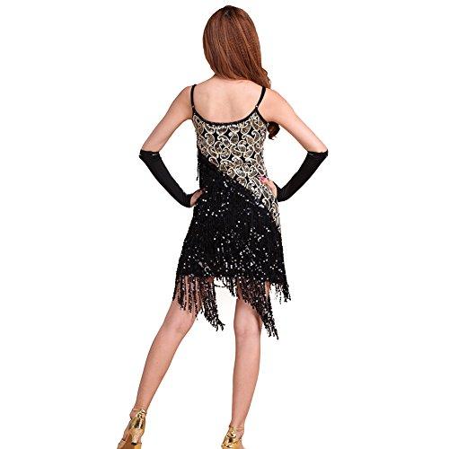 ESHOO Femme Latin Tango Rumba Salsa Robe Costume de danse Robe de cocktail Party Noir