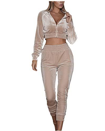 wenyujh Damen Bekleidungsset Sport Freizeit Pullover Hose Set Frühling 2 Teilig Samt Bauchweg Jacke Freizeithose Einfarbig (S, 2#Khaki)