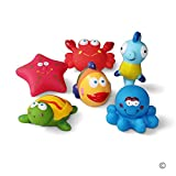 JUNSHEN Bath Toys Floating Bath Fish,Starfish,Sea Horses Toys(6PCS) with Bath Toys Bag,Sea Creature Bath Toys,Baby Soft Bath Time Toys,Preschool Animal Bath Toys and Soft Bathtub Toys for Toddlers