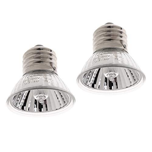 2 Pz 75W Lampada di Basking del Calore Lampade Riscaldante Alogena UVA UVB per Rettilari Animali Domestici